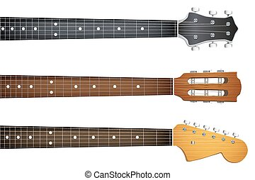 guitare, ensemble, fretboard, cou, headstock