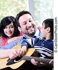 guitare, famille, jouer ensemble, heureux