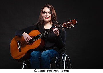 guitare, fauteuil roulant, fille femme, invalide