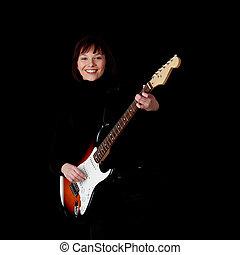 guitare, femme, électrique