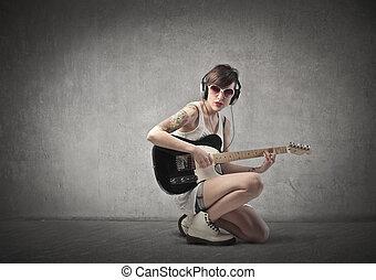 guitare, femme