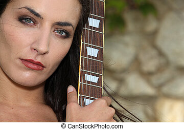 guitare, femme, elle