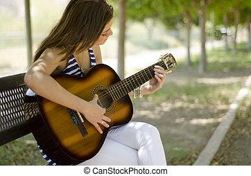guitare, femme, jeune, jouer