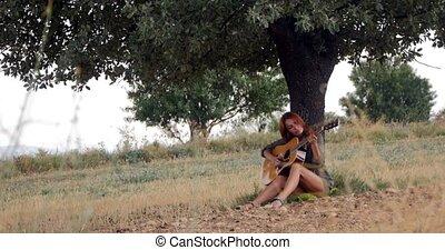 guitare, femme, jouer