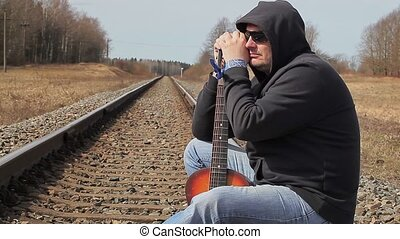 guitare, ferroviaire, homme
