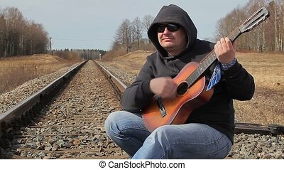 guitare, ferroviaire, jouer, homme