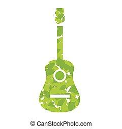 guitare, feuilles, vert