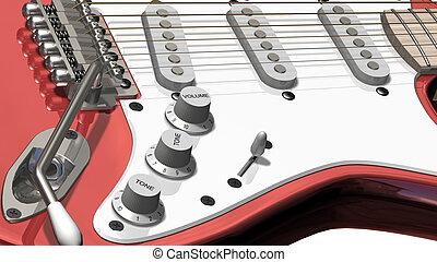 guitare, fin, électrique, haut
