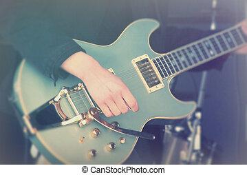 guitare, fin, homme, haut, jouer