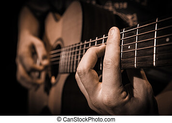 guitare, fin, instruments à cordes, haut, mains
