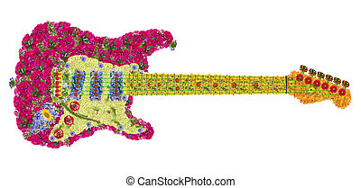 guitare, fleurs
