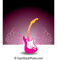guitare, floral, fond