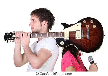 guitare, garçon, épaule