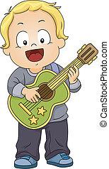 guitare, garçon, jouet