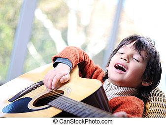 guitare, garçon, peu, jouer, maison