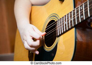 guitare, Garçon, peu, jouer