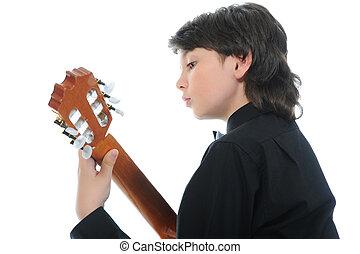 guitare, Garçon, peu, musicien, jouer