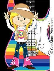 guitare, girl, 60, hippie, &