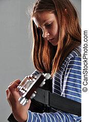 guitare, girl, adolescent, jouer