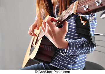 guitare, girl, adolescent, jouer
