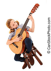 guitare, girl, adorable