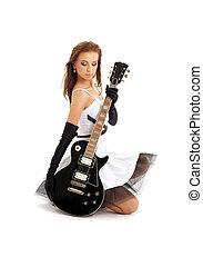 guitare, girl, agréable, noir