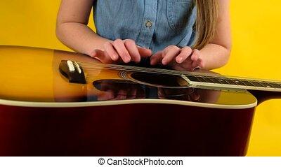 guitare, girl, jeune