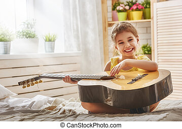 guitare, girl, jouer