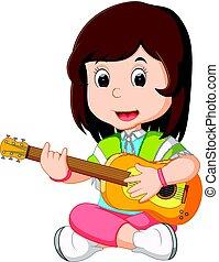 guitare, girl, jouer