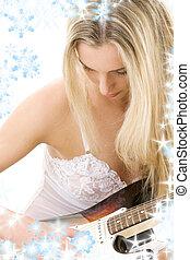 guitare, girl, lingerie, blanc