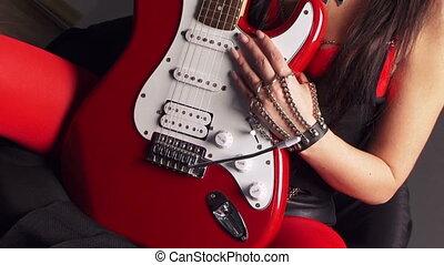 guitare, girl, séance