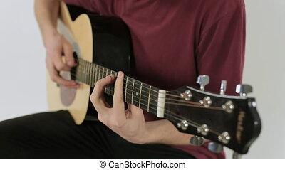 guitare, grand plan, jouer