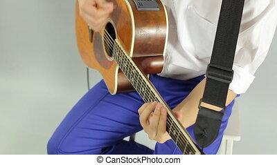 guitare, gros plan, studio, électrique, jouer