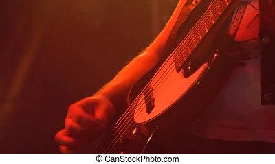 guitare, guitariste, basse, étape, jouer
