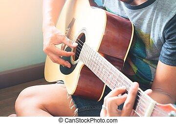 guitare, haut, foyer, sélectif, asiatique, fin, jouer, homme