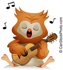 guitare, hibou
