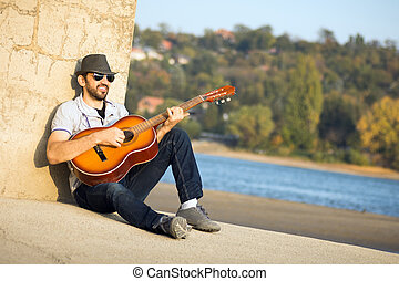 guitare, hipster, jouer
