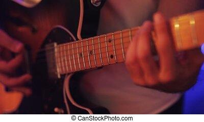 guitare, homme, électrique, jouer