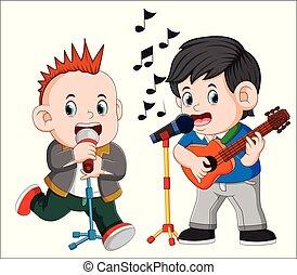 guitare, homme, chant, deux, jouer