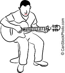guitare, homme