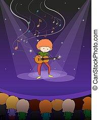guitare, homme, jouer, étape