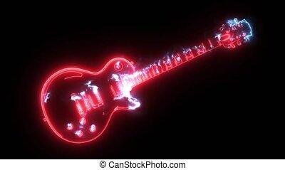 guitare, icon., numérique, électrique, animation