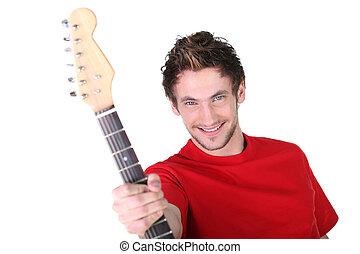 guitare, jeune homme