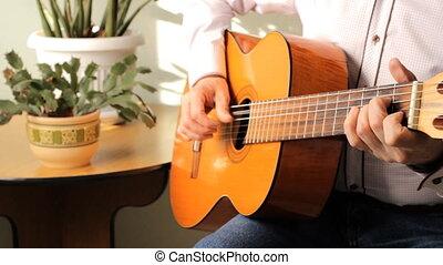 guitare jouer, classique, homme