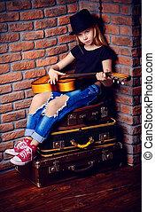 guitare jouer, enfant