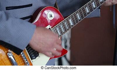 guitare jouer, homme