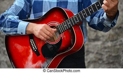 guitare jouer, rue., homme