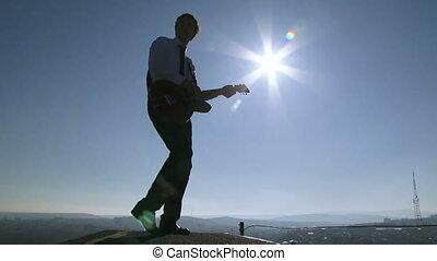 guitare jouer, toit, homme