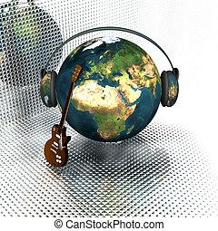 guitare, la terre, écouteurs, musique