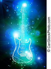 guitare, lumière, néon, électrique, taches